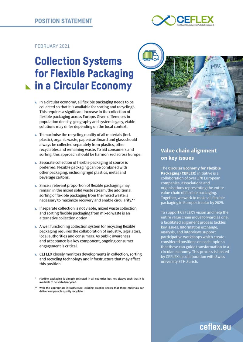 CEFLEX Position statement on Collection Systems