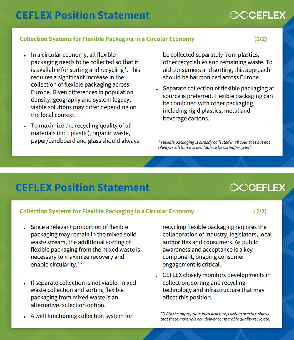 CEFLEX position paper: Collection Systems for Flexible Packaging in a Circular Economy