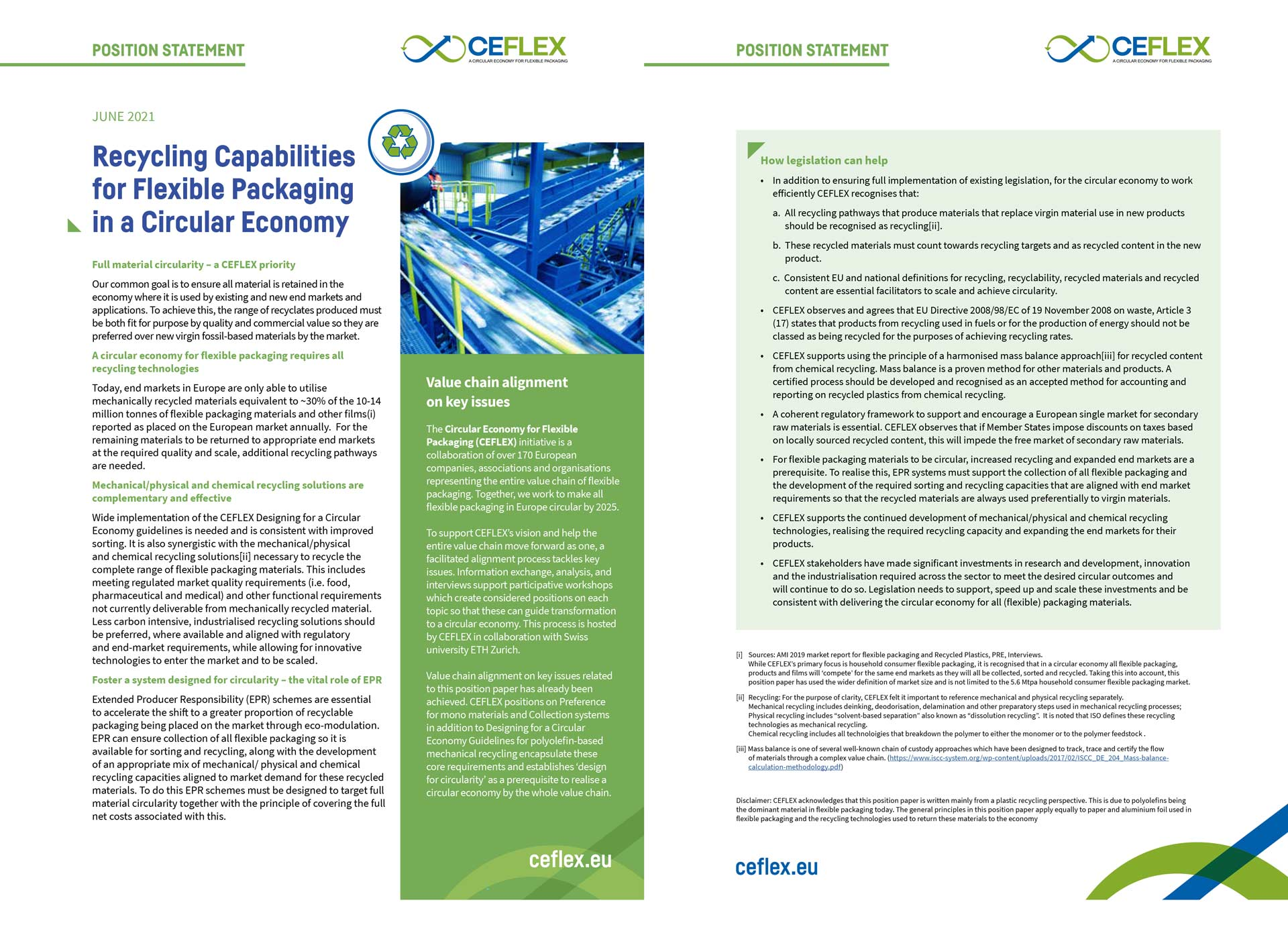 Position Statement: Recycling Capabilities for Flexible Packaging in a Circular Economy